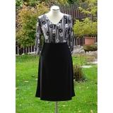 šaty -černo bílé-3/4 rukáv