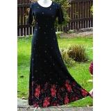 Dlouhé šaty- černé s červenou kantou