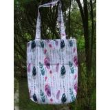 Nákupní taška-peří-zeleno růžové