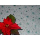 vánoční ubrus bílý se zelenými třpytivými vločkami 120/140