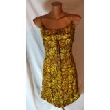 Boho žluto hnědé letní šaty vel.L