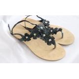 Černé kytičkované sandály žabky vel.40