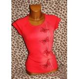 Červené motýlí tričko, vel. M/L