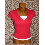 Červené tričko zdvojený vzhled vel. M