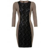 Hnědobéžové šaty s černou krajkou, v.42