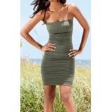 Olivové řasené šaty, vel.36