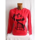 Červená mikina s kočkou a kapucou, vel. M