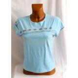 Modré tričko s ptáčky