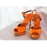 Oranžové botky na podpatku vel.39