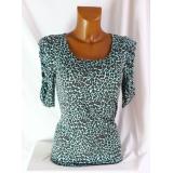 Tyrkysové leopardí tričko s nařasenými rukávy vel.M