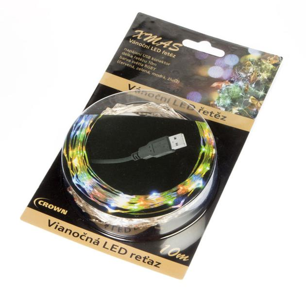 Vánoční řetěz LED USB barevný 10m