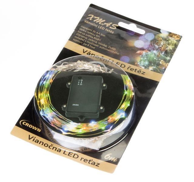 Vánoční řetěz LED barevný 6m