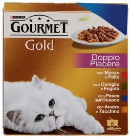 Gourmet Gold kapsičky pro kočky dušené a grilované kousky, 8x85g