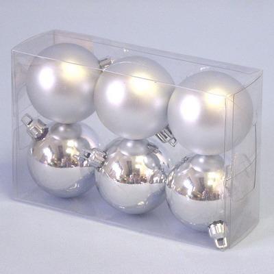 Baňky vánoční 6ks/5cm stříbrná