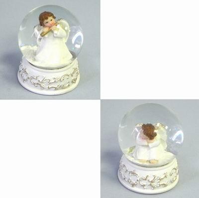 Sněžítko s andělíčkem keramika bílá