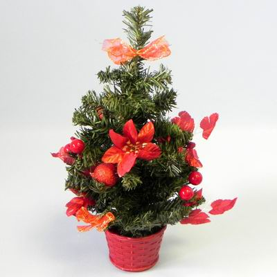 Stromek umělý zdobený 40cm červená