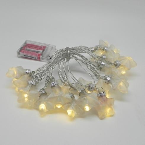 Vánoční světýlka hvězdy sklo bílá