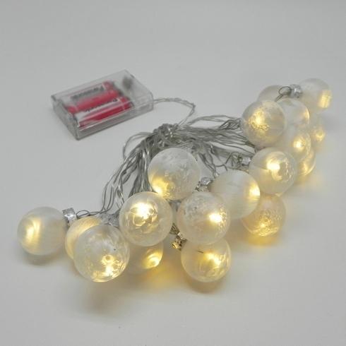 Vánoční světýlka koule sklo bílá