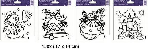 Šablony k malování barvičkami na sklo vánoční motivy 1588 a