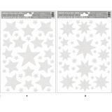 Okenní fólie hvězdy bílé s glitry 30x20cm   468