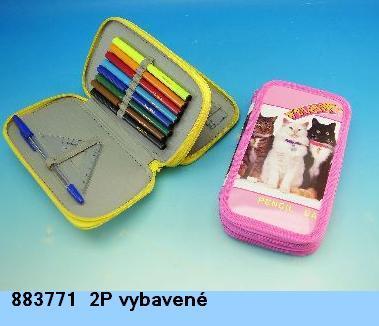 Školní penál vybavený 2 patra kočky