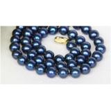 Perlový náhrdelník jezerní modré perly 10mm NJ10019