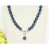 Perlový náhrdelník modré jezerní perly 12mm NJ10021