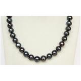 Perlový náhrdelník jezerní černé perly 14mm NJ10051