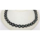 Perlový náhrdelník jezerní černé perly 15mm NJ10055