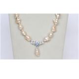 Perlový náhrdelník jezerní barokní růžové perly 27mm NJ10402