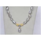 Perlový náhrdelník jezerní šedostříbrné barokní perly 27mm NJ10404