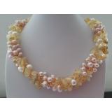Perlový náhrdelník jezerní levandulové perly a citrín NB345