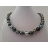 Perlový náhrdelník mořské černé tahiti perly 13mm ES097