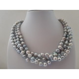 Perlový náhrdelník mořské šedostříbrné akoya perly 5mm ES131