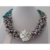 Perlový náhrdelník jezerní šedostříbrné perly a tyrkys howlit NB346