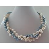 Perlový náhrdelník mořské bílé a šedomodré perly ES138