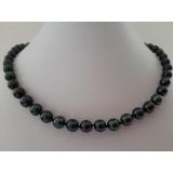 Perlový náhrdelník jezerní černé perly 10mm NB359
