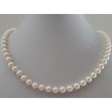 Perlový náhrdelník jezerní bílé perly 7mm, NJ9990