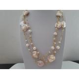 Perlový náhrdelník jezerní růžové perly 19mm na řetízku YY282