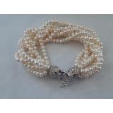 Perlový náramek jezerní bílé perly 5mm YB003