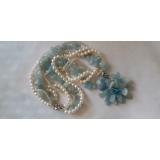 Perlový náhrdelník jezerní bílé perly a akvamarín NB332