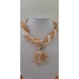 Perlový náhrdelník jezerní bílé perly a citrín NB333