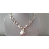 Perlový náhrdelník jezerní bílé reborn keshi perly 11mm a velká barokní jezerní perla NB247