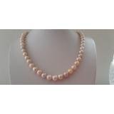 Perlový náhrdelník jezerní růžové perly 10mm ES152