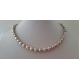 Perlový náhrdelník jezerní šedostříbrné perly 7mm ES151
