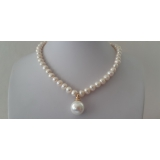 Perlový náhrdelník bílé jezerní perly NB163a