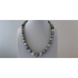Perlový náhrdelník černé mořské tahiti perly 14mm ES164