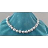 Perlový náhrdelník jezerní bílé perly s platinovým nádechem 11mm NS006