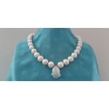 Perlový náhrdelník jezerní bílé perly 14mm NS009