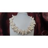 Perlový náhrdelník jezerní bílé perly dvojčata NB378